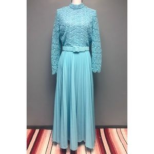 VTG 60s Floral Lace Bodice Pleated Maxi Dress